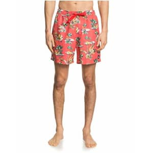 Quiksilver Men's Printed Volley 17 Inch Outseam Elastic Waist Swim Trunk, Deep Sea Coral, X-Large for $30