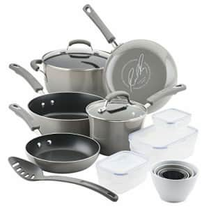 Rachael Ray Brights Nonstick Cookware Pots and Pans Set with LocknLock Containers, 19 Piece, Sea for $147