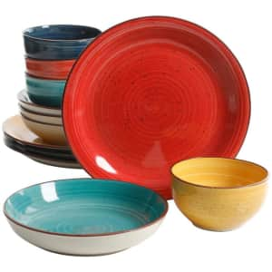 Gibson Home Color Speckle 12-Piece Stoneware Dinnerware Set for $30