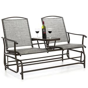 Best Choice Products 2-Person Outdoor Mesh Fabric Patio Double Glider w/Tempered Glass Attached for $324