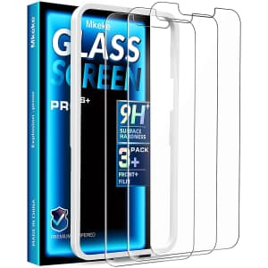 Mkeke Tempered Glass Screen Protector 3-Pack for iPhone 13/13 Pro for $2