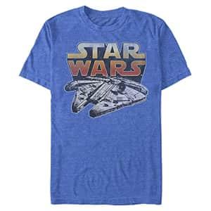 Star Wars Men's The Falcon T-Shirt, Royal Blue Heather, Medium for $17