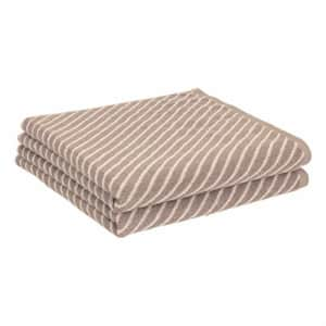 Amazon Basics Reversible Diagonal Stripe Jacquard Bath Towel - 2-Pack, Delicate Fawn / Cocoa Powder for $20