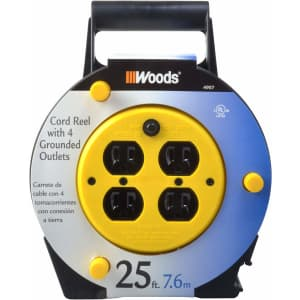 Woods 25-Foot Extension Cord Reel with 4-Outlets for $29