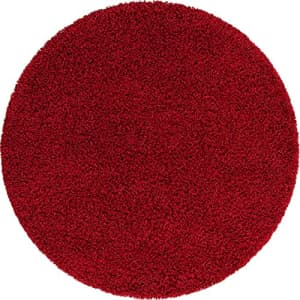 Unique Loom Solo Solid Shag Collection Area Modern Plush Rug Lush & Soft, 5' 0 x 5' 0 Round, Cherry for $63