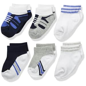Luvable Friends Unisex Baby Newborn and Baby Socks Set, Blue Gray 6-Pack, 0-6 Months for $11