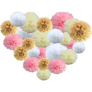 Bizilicht Tissue Paper Pom Poms 24-Pack for $13