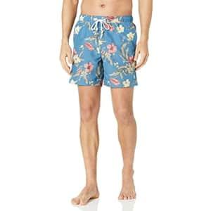 Original Penguin Men's Large Floral Print Swim Short, Copen Blue, X for $47