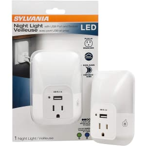 Sylvania LED Night Light with USB Port and Socket for $15