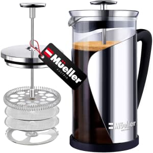 Mueller 34-oz. Glass and Stainless Steel French Press Coffee Maker for $20