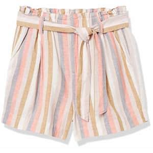 Amazon Brand - Goodthreads Women's Washed Linen Blend Paper Bag Waist Shorts, Multi-Stripe, 14 for $26