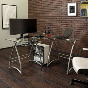 Walker Edison Furniture Company Modern Corner L Shaped Glass Computer Writing Gaming Gamer Command for $128