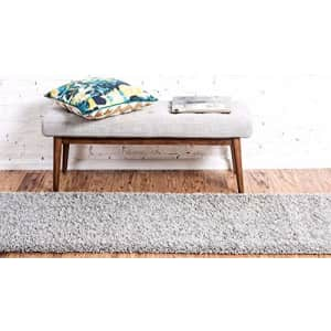 Unique Loom Solo Solid Shag Collection Modern Plush Cloud Gray Runner Rug (2' 2 x 6' 5) for $22