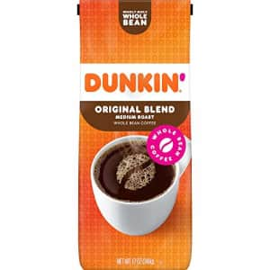 Dunkin Donuts Dunkin' Original Blend Medium Roast Whole Bean Coffee, 12 Ounces (Pack of 6) (Packaging May Vary) for $55