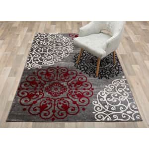 """Rugshop Contemporary Modern Floral Indoor Soft Area Rug 5'3"""" x 7'3"""" Red for $73"""