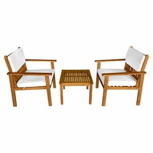 FDW 3-Piece Acacia Wood Patio Bistro Set Patio Furniture Outdoor Chat Conversation Table Chair Set for $190