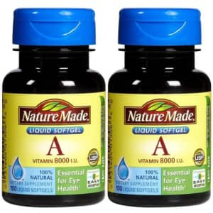 Nature Made Vitamin A 2,400 mcg (8,000 IU), 100 Softgels (Pack of 2) for $16