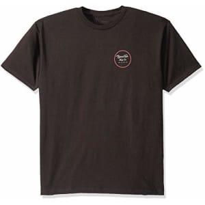 Brixton Men's Wheeler II Standard FIT Short Sleeve T-Shirt, Washed Black/White, S for $10