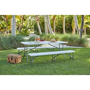 """BrylaneHome Fold-in-Half Resin Table, 6' Long, 29 1/4"""" Hx30 Wx72 L Patio Table, White for $143"""