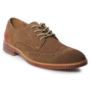 Sonoma Men's Walton Suede Wingtip Oxford Shoes (Wide Sizes) for $15