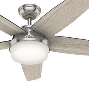Hunter Fan 52 inch Contemporary Brushed Nickel Indoor Ceiling Fan with Light Kit and Remote Control for $91