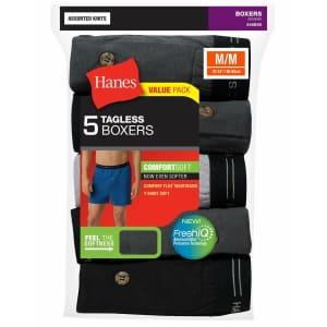 Hanes Men's ComfortSoft Tagless Boxer 5-Pack for $14