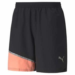 "PUMA Men's 7"" Woven Running Shorts, Black-Nrgy Peach, S for $29"