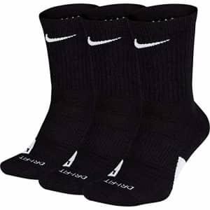 NIKE Elite Basketball Crew Socks 3 Pack (Black/White, Small) for $24