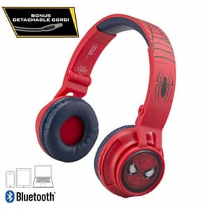 eKids Kids Bluetooth Headphones for Kids Spiderman Far from Home Wireless Rechargeable Foldable Bluetooth for $30