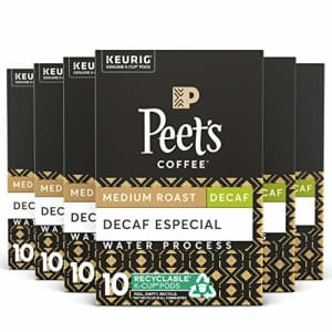 Peet's Coffee Decaf Especial, Medium Roast, 60 Count Single Serve K-Cup Decaffeinated Coffee Pods for $40
