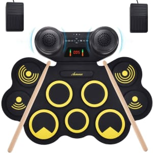 Asmuse Portable Electric Drum Set for $55