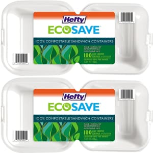 Hefty ECOSAVE 100-Count Compostable Sandwich Containers 2-Pack for $31