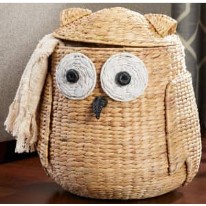 StyleWell Owl Water Hyacinth Woven Storage Basket w/ Lid for $48