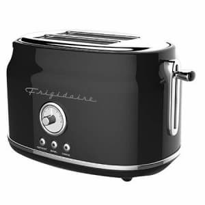 Frigidaire ETO102-BLACK Retro Wide 2-Slice Toaster Perfect for Bread, English Muffins, Bagels, 5 for $45