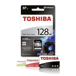 Toshiba Exceria Pro N401 128 GB SDXC - Class 10/UHS-I (U3) - 95 MB/s Read - 75 MB/s Write1 Pack for $55