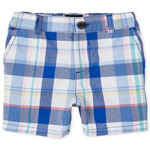 The Children's Place Boys' Checkered Chino Shorts, Quench Blue, 12 for $15