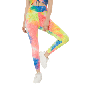 Rue21 Women's Tie Dye Honeycomb Ruched Back Leggings for $7