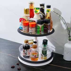 Qisiewell 2-Tier Height Adjustable Lazy Susan Turntable for $16