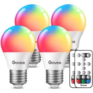 Govee RGB LED 3-Watt Light Bulb 4-Pack for $10