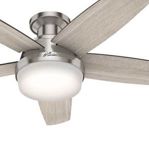 Hunter Fan 48 inch Low Profile Brushed Nickel Ceiling Fan with LED Light Kit and Remote Control for $123