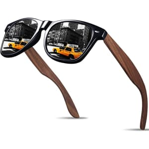 Kithdia Handmade Polarized Sunglasses with Bamboo Temples for $22