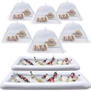 Sorbus Inflatable Serving Bar & food umbrella mesh cover Screen Tent set for Food and Beverages, for $35