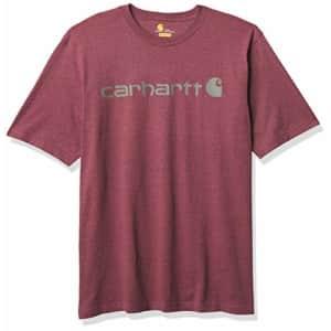 Carhartt Men's Big & Tall Signature Logo Short-Sleeve Midweight Jersey T-Shirt K197, Iron Ore for $23