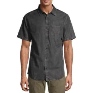 No Boundaries Men's Short Sleeve Denim Shirt for $10