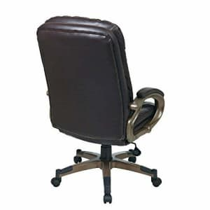 Office Star Bonded Leather Seat and Back Executives Chair with Fixed Arms and Cocoa Coated Accents, for $269