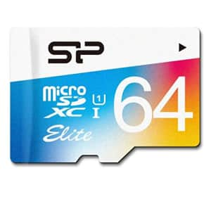 Silicon Power 64GB MicroSDXC UHS-1 Class10, Elite Flash memory Card with Adapter for $7