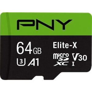 PNY 64GB Elite-X Class 10 U3 V30 MicroSDXC Card for $14