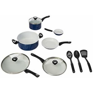 Farberware Ceramic Dishwasher Safe Nonstick Cookware Pots and Pans Set, 12 Piece, Blue for $100
