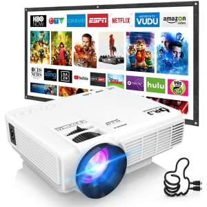 """Dr. J 1,800-Lumen 4"""" Mini LCD Projector with 100"""" Portable Screen for $100"""