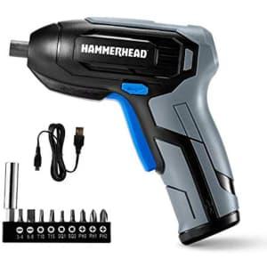 Hammerhead Rechargeable 4V Cordless Screwdriver w/ 9-Pc. Bit Set for $12